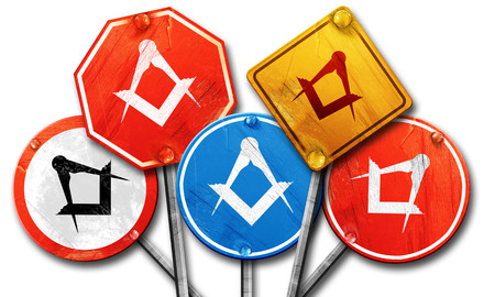 freemasonry: Masonic freemasonry symbol with some soft smooth lines, 3D rendering, rough street sign collection