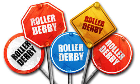 isolation tank: roller derby, 3D rendering, rough street sign collection Stock Photo