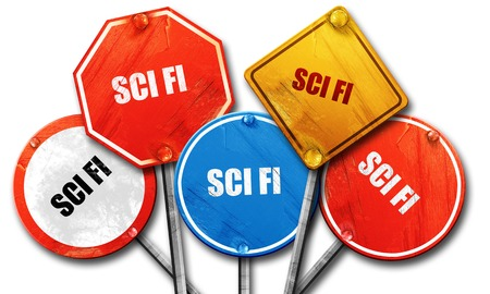 sci: sci fi, 3D rendering, rough street sign collection Stock Photo