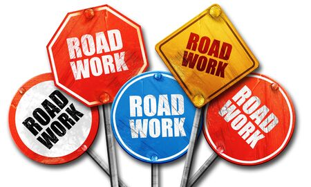 roadwork: road work, 3D rendering, rough street sign collection