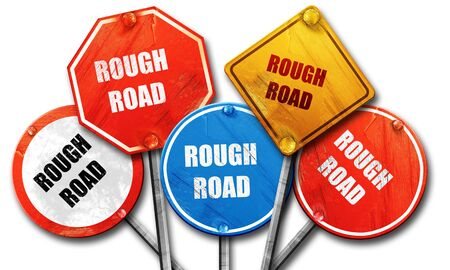 rough road: Rough road sign with some soft glowing highlights, 3D rendering, rough street sign collection