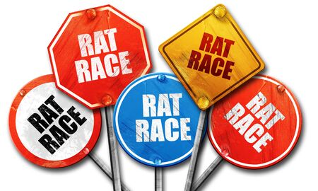 downshift: rat race, 3D rendering, rough street sign collection Stock Photo