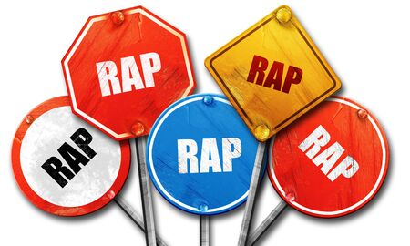 music 3d: rap music, 3D rendering, rough street sign collection
