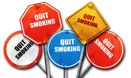 quit smoking, 3D rendering, rough street sign collection Stock Photo