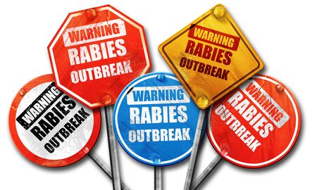 rabies: Rabies virus concept background with some soft smooth lines, 3D rendering, rough street sign collection Stock Photo