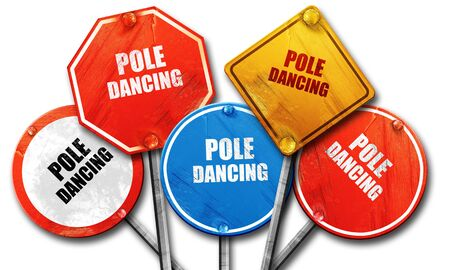 pole dancing: pole dancing sign background with some soft smooth lines, 3D rendering, rough street sign collection Stock Photo