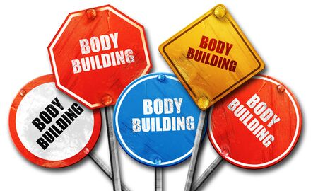 bodybuilding sign background with some soft smooth lines, 3D rendering, rough street sign collection