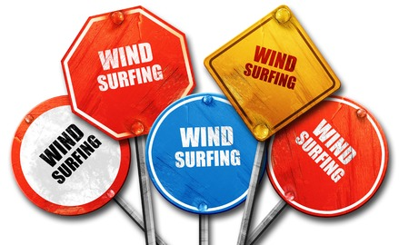 wind surfing: wind surfing sign background with some soft smooth lines, 3D rendering, rough street sign collection Stock Photo