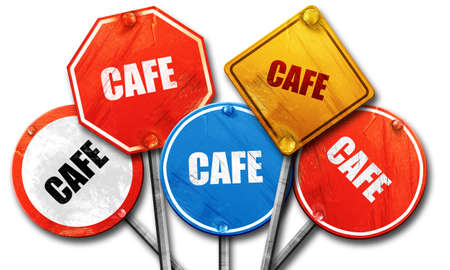 streetsign: cafe sign background with some soft smooth lines, 3D rendering, rough street sign collection