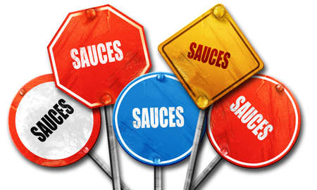 sauces: Delicious sauces sign with some soft smooth lines, 3D rendering, rough street sign collection