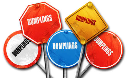 Delicious dumplings sign with some soft smooth lines, 3D rendering, rough street sign collection Stock Photo