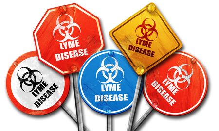 lyme: Lyme virus concept background with some soft smooth lines, 3D rendering, rough street sign collection