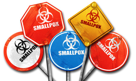 smallpox: smallpox concept background with some soft smooth lines, 3D rendering, rough street sign collection Stock Photo