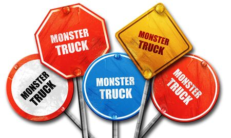 monster truck: monster truck sign background with some soft smooth lines, 3D rendering, rough street sign collection Stock Photo