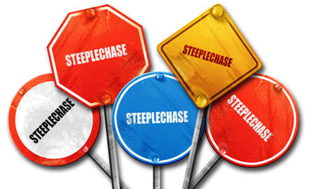 steeplechase: Steeplechase sign background with some soft smooth lines, 3D rendering, rough street sign collection Stock Photo