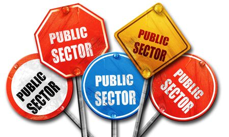public sector: public sector, 3D rendering, rough street sign collection