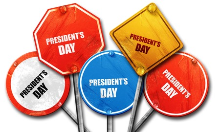 presidents: presidents day, 3D rendering, rough street sign collection