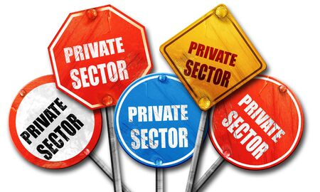 private domain: private sector, 3D rendering, rough street sign collection Stock Photo