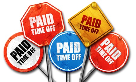 time off: paid time off, 3D rendering, rough street sign collection Stock Photo