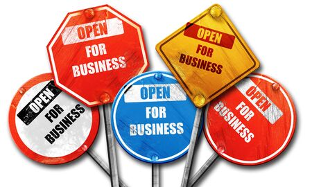 yellow tacks: Open for business sign with some soft highlights, 3D rendering, rough street sign collection Stock Photo