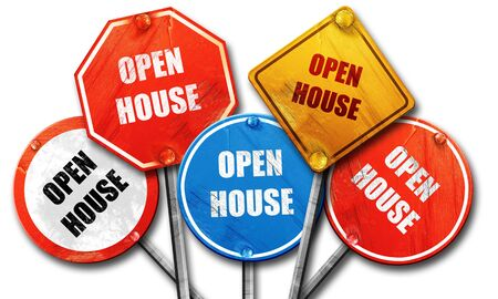 Open house sign with some soft smooth lines, 3D rendering, rough street sign collection Stock Photo