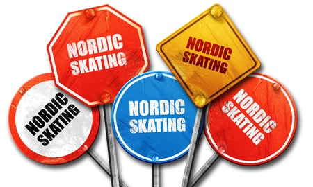 streetsign: nordic skating, 3D rendering, rough street sign collection Stock Photo