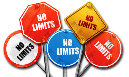 no limits: no limits, 3D rendering, rough street sign collection