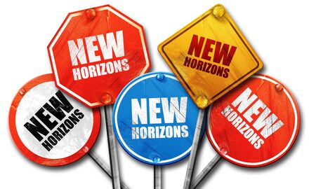 new horizons: new horizons, 3D rendering, rough street sign collection Stock Photo