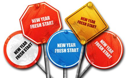 fresh start: new year fresh start, 3D rendering, rough street sign collection Stock Photo