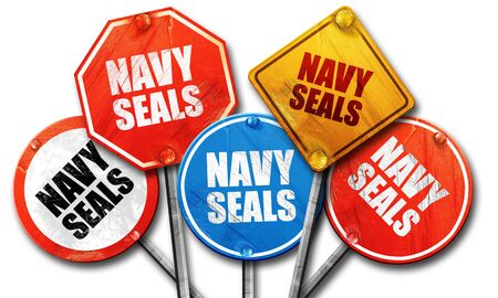 streetsign: navy seals, 3D rendering, rough street sign collection Stock Photo