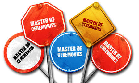 master degree: master of ceremonies, 3D rendering, rough street sign collection Stock Photo