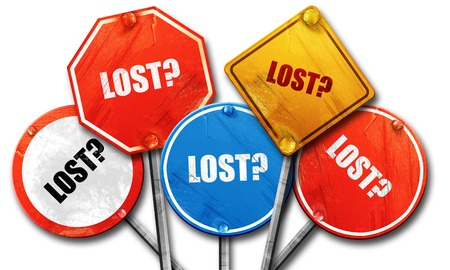 lost, 3D rendering, rough street sign collection Stock Photo