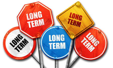 long term: long term, 3D rendering, rough street sign collection Stock Photo