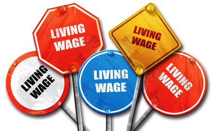 salarios: living wage, 3D rendering, rough street sign collection