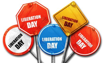 liberation: liberation day, 3D rendering, rough street sign collection