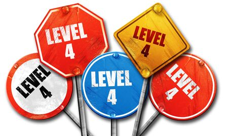xp: level 4, 3D rendering, rough street sign collection Stock Photo