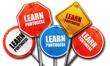 portugese: learn portugese, 3D rendering, rough street sign collection
