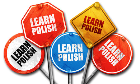 streetsign: learn polish, 3D rendering, rough street sign collection