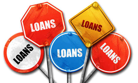 loans: loans, 3D rendering, rough street sign collection