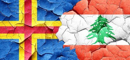 lebanon: aland islands with Lebanon flag on a grunge cracked wall Stock Photo