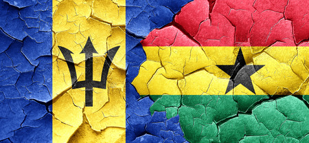 ghanese: Barbados flag with Ghana flag on a grunge cracked wall