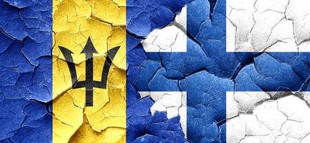 FINLAND flag: Barbados flag with Finland flag on a grunge cracked wall Stock Photo