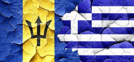 barbados: Barbados flag with Greece flag on a grunge cracked wall Stock Photo