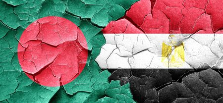 flag of egypt: Bangladesh flag with egypt flag on a grunge cracked wall Stock Photo