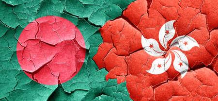bangladesh: Bangladesh flag with Hong Kong flag on a grunge cracked wall Stock Photo