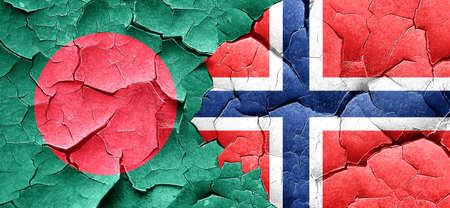 norway flag: Bangladesh flag with Norway flag on a grunge cracked wall