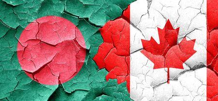 bangladesh: Bangladesh flag with Canada flag on a grunge cracked wall Stock Photo