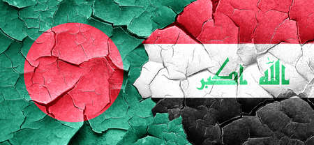 iraq conflict: Bangladesh flag with Iraq flag on a grunge cracked wall Stock Photo