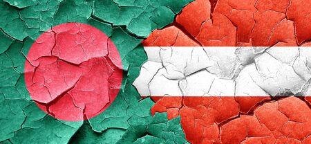 bangladesh: Bangladesh flag with Austria flag on a grunge cracked wall