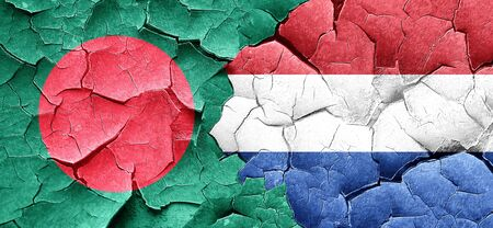 holland flag: Bangladesh flag with Netherlands flag on a grunge cracked wall